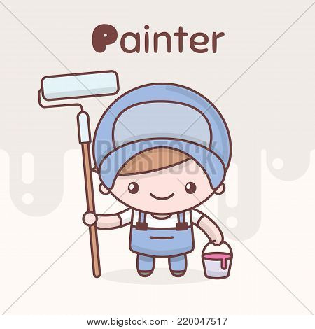 Cute chibi kawaii characters. Alphabet professions. The Letter P - Painter. Flat cartoon style