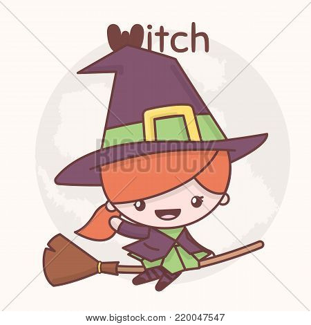 Cute chibi kawaii characters Halloween set. Witch on a broomstick in the background of the moon. Flat cartoon style.