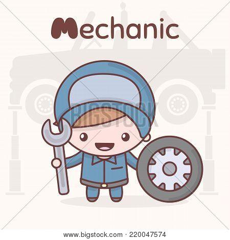Cute chibi kawaii characters. Alphabet professions. The Letter M - Mechanic. Flat cartoon style
