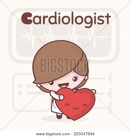 Cute chibi kawaii characters. Alphabet professions. The Letter C - Cardiologist. Flat cartoon style