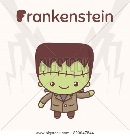 Cute chibi kawaii characters Halloween set. Merry Frankenstein against the backdrop of lightning. Flat cartoon style.