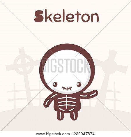 Cute chibi kawaii characters Halloween set. Cheerful boy in a skeleton costume on the background of a cemetery. Flat cartoon style.