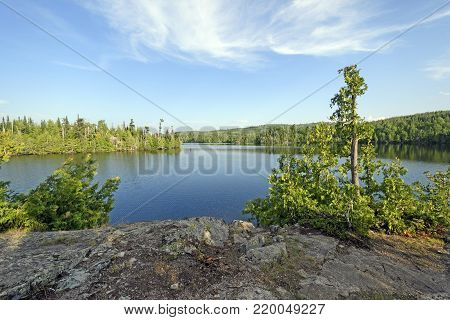 Colorful View froma Rocky Lakeshore on OgishKemuncie Lake in the Boundary Waters in Minnesota