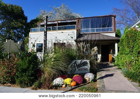 PETOSKEY, MICHIGAN / UNITED STATES - OCTOBER 18, 2017: The Palette Bistro offers gourmet-style Mediterranean fare, coffee, and wine, on Bay Street in downtown Petoskey.