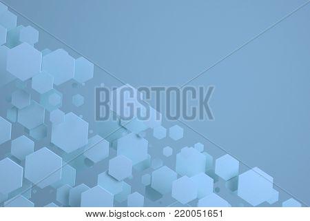 Blue Hexagons Of Random Size On Blue Background