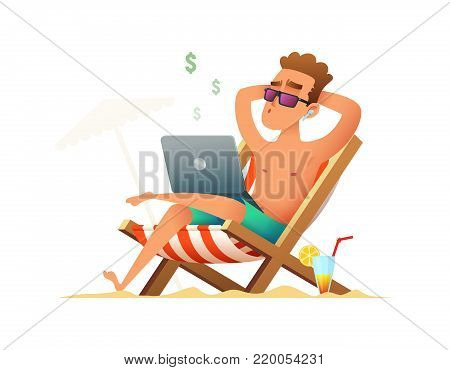 Man sitting on a lounger and working on the computer. Freelancer gets paid, sitting and relaxing on the beach on weekends or holidays. Business man summer vacation work