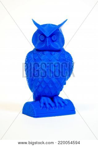 Abstract object of blue color printed by 3d printer isolated on white background. Fused deposition modeling, FDM. Progressive modern additive technology. Concept of 4.0 industrial revolution