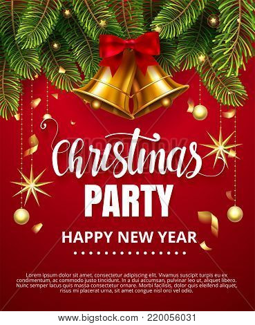 Vector stock Christmas Party Happy New Year traditional classic design template. Jingle golden bells with ribbon bow, christmas ball, stars, fir tree branches isolated on red Vector illustration EPS10