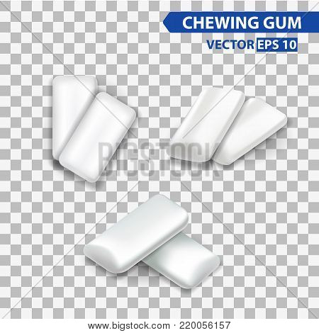 mint chewing gum set for ads and package element, isolated transparent background, 3d vector realistic illustration