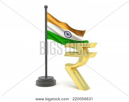Indian Rupee with Indian Flag, Indian Rupee growth concept. 3d rendering