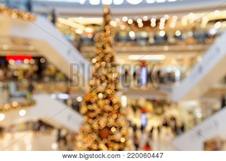 Christmas Trade in multi-level Shopping Centre bokeh background