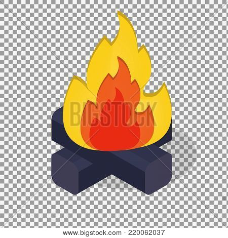 Red Fire vector icon symbol in flat isometric design on transparent background. -stock vector