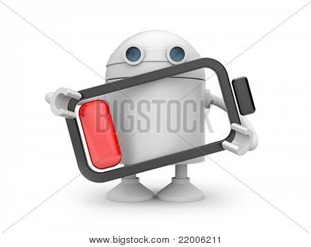 Robot with empty battery