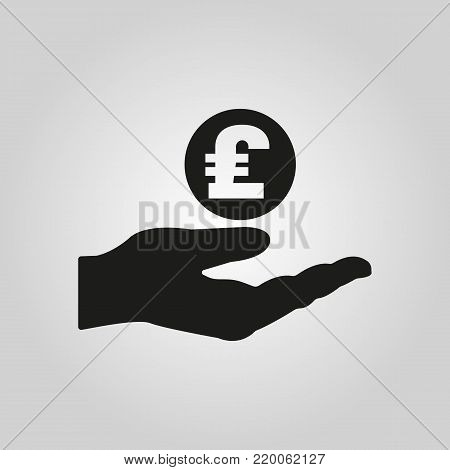 Pound sterling in hand icon. Wealth, money, investments, savings symbol. Flat design. Stock - Vector illustration