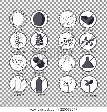 Set of icons illustrating absence of common food allergens on transparent background. Sugar free, egg, nut, gluten, milk, nitrates, gmo, vegetarian. - stock vector