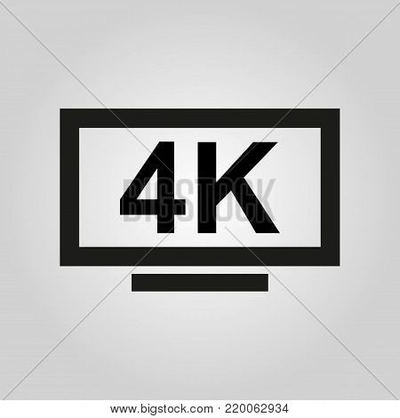4K TV icon. Television and display, televisor symbol. Flat design. Stock - Vector illustration