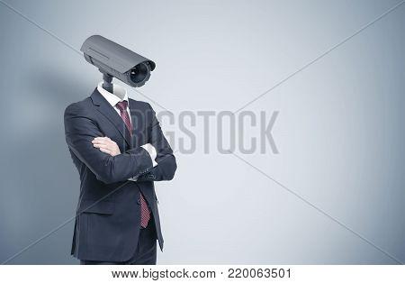 Man With A Cctv Camera Head, Gray