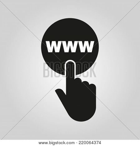 Hand pressing a button with the text WWW icon. Internet, web, network symbol. Flat design. Stock - Vector illustration