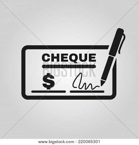 Cheque icon. Bank and finance, pay symbol. Flat design. Stock - Vector illustration
