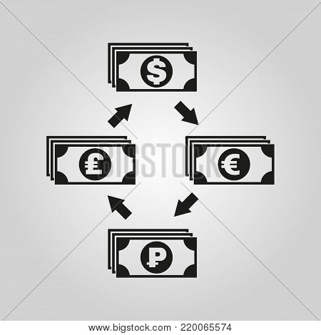 Currency exchange dollar and pound sterling, euro, ruble icon. Bank and finance, pay symbol. Flat design. Stock - Vector illustration