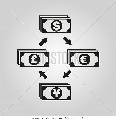 Currency exchange dollar and pound sterling, euro, yen icon. Bank and finance, pay symbol. Flat design. Stock - Vector illustration