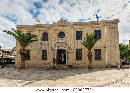 Heraklion, Greece - November 2, 2017: The Ottoman Vezir Mosque (1856) and now the basilica of St Titus in the centre of Heraklion town, Crete, Greece.