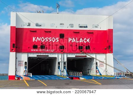 Heraklion, Greece - November 2, 2017: View on interior of empty ferry «Knoss Palace» awaiting loading at the port on a sunny autumn day, Heraklion, Crete, Greece.