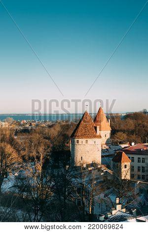 Tallinn, Estonia. Part Of Tallinn City Wall. Nun's Tower Nunnatorn, Sauna Tower Saunatorn, Golden Leg Tower Kuldjala Torn. Old Walls of Tallinn
