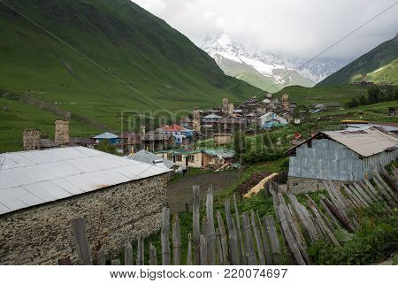 Ushguli  village houses in Caucasus mountains ,Georgia