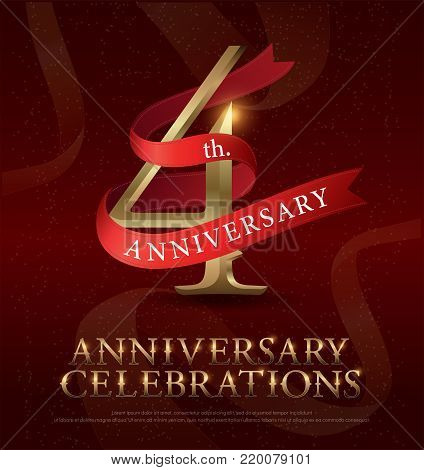 4th years anniversary celebration golden logo with red ribbon on red background. vector illustrator