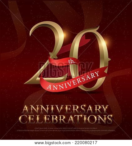 20th years anniversary celebration golden logo with red ribbon on red background. vector illustrator