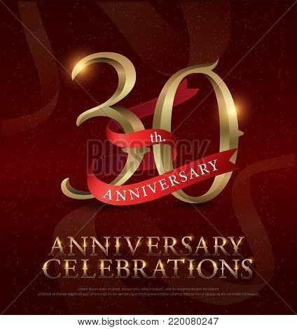 30th years anniversary celebration golden logo with red ribbon on red background. vector illustrator