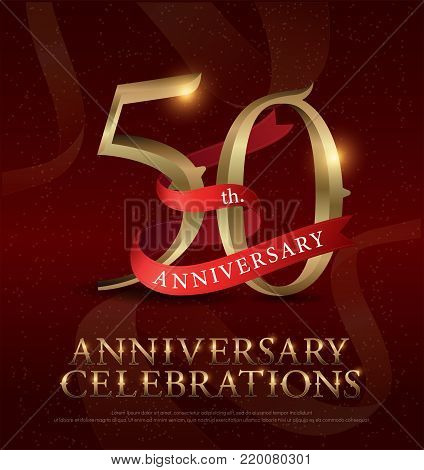 50th years anniversary celebration golden logo with red ribbon on red background. vector illustrator