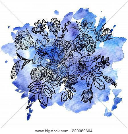 vintage vector floral composition at blue watercolor background, isolated element in victorian style, flowers, buds and leaves of roses, hand drawn illustration