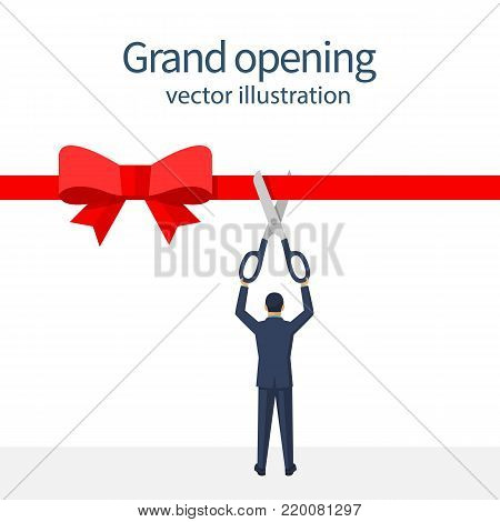 Businessman is holding big scissors cutting red ribbon. Isolated on white background. Grand opening concept. Vector illustration flat design. Template ceremony, celebration, presentation and event.
