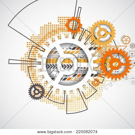 Abstract Technology Gears Background.  Futuristic Style With Orange Square Halftone.