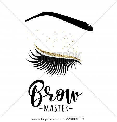Brow master logo. Vector illustration of lashes and brow. For beauty salon, lash extensions maker, brow master.