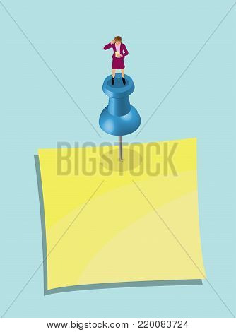 Businesswoman Over Pushpin and Note Paper - 1. In this vector based illustration document all the objects are in different layers and each one convenient to use without background and other objects. poster