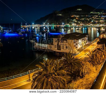 Avalon bay on Catalina Island reflecting the night lights of the holidays.