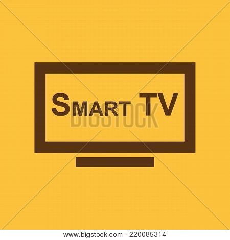 Smart TV icon. Television and display, televisor symbol. Flat design. Stock - Vector illustration