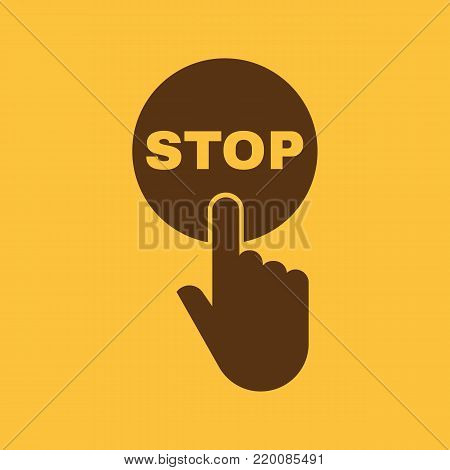 Hand pressing a button with the text STOP icon. Halt, suspend, cease symbol. Flat design. Stock - Vector illustration