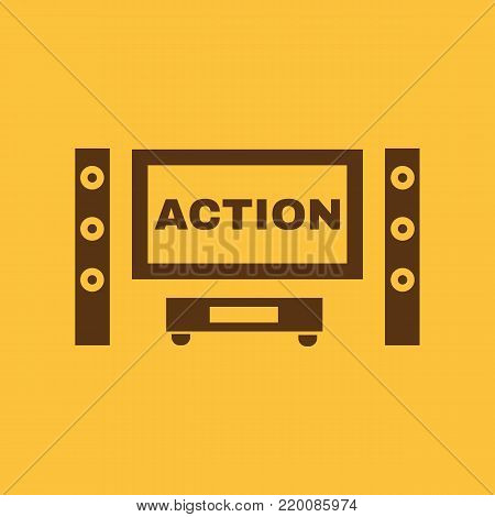 Action movie icon. TV and Home theater, cinema symbol. Flat design. Stock - Vector illustration
