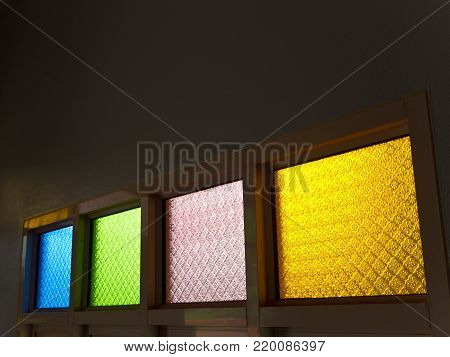 Frosted Glass Embossed Multi Colored And Bright Light Outside