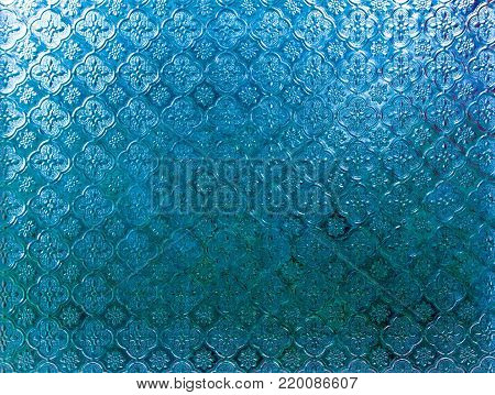 Surface Texture Blue Color Frosted Glass Embossed