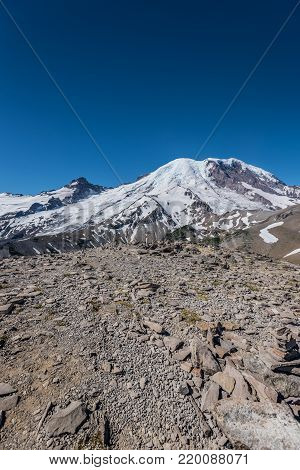 Mount Rainier and Blue Sky from Burroughs Mountain