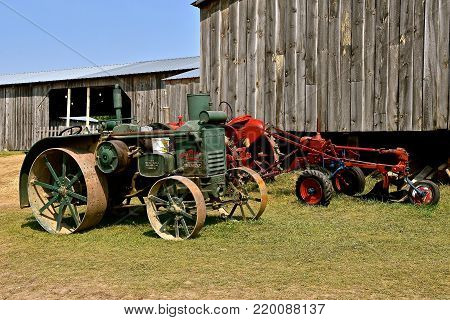 ROLLAG, MINNESOTA, Sept 2, 2017: An Advance Rumely Oil Pull old tractor is displayed at the annual WCSTR farm show in Rollag held each Labor Day weekend where 1000's attend.