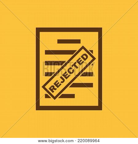 Rejected document icon. Refused, deflected, deviated symbol. Flat design. Stock - Vector illustration