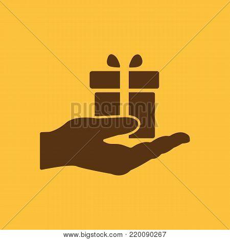 Gift in hand icon. Birthday, present, surprise symbol. Flat design. Stock - Vector illustration