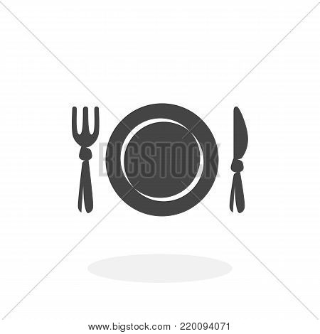 Fork and knife menu icon isolated on white background. Restaurant vector logo. Flat design style. Modern vector pictogram for web graphics - stock vector