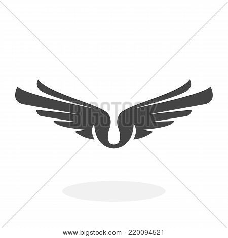 Wings icon isolated on white background. Wings vector logo. Flat design style. Modern vector pictogram for web graphics - stock vector